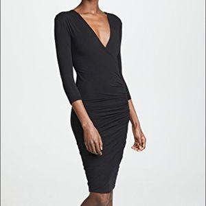 James Perse Black Skinny Wrap Tuck Dress